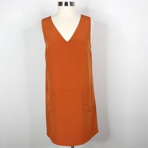H&M Color Block V-Neck Retro Shift Dress Orange 12